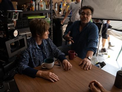 Glenn Close y Rodrigo García, en el rodaje de 'Cuatro días'.