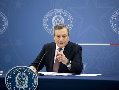 El primer ministro de Italia, Mario Draghi, durante una rueda de prensa celebrada este miércoles.
