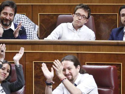 Mayoral, Errejón, Garzón, Montero e Iglesias, el 22 de febrero.