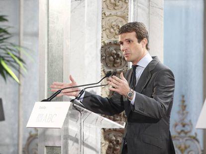 El presidente del PP, Pablo Casado, interviene durante el Foro ABC