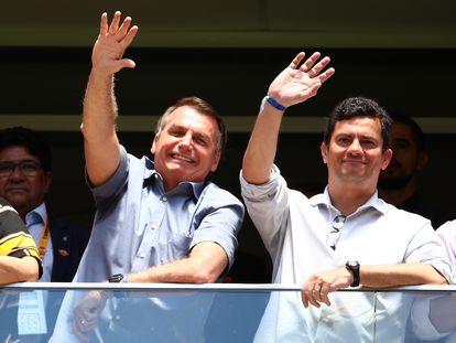 El presidente Bolsonaro y su entonces ministro Moro en la final de la Supercopa brasileña en febrero en Brasilia.