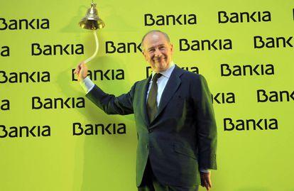 Rato toca la campana en el inicio de la cotización de Bankia.