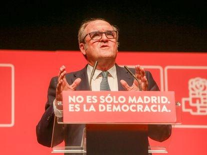 Ángel Gabilondo, en un mitin del PSOE en Leganés, este jueves.