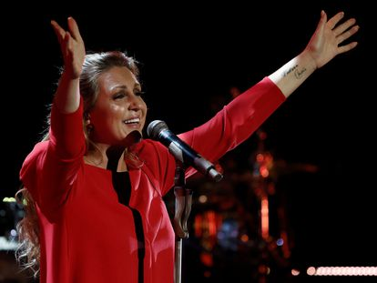 Niña Pastori, en el concierto que ofreció este jueves en Pamplona, dentro del festival Flamenco on Fire.