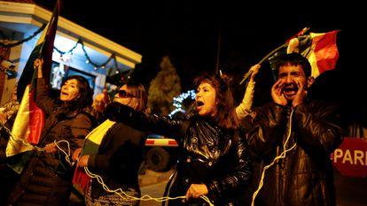 Algunos manifestantes en diciembre pasado, en La Rinconada, en La Paz (Bolivia).