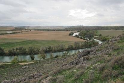 Vista de un meandro del río Tajo desde el yacimiento arqueológico de Caraca, en Driebes (Guadalajara)