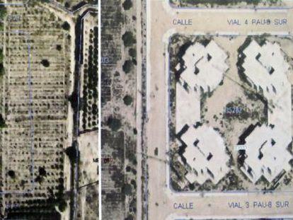 Fotografía tomada por satélite de la misma parcela en 2005 y 2012, donde se han construido cuatro torres ilegales de ocho alturas.
