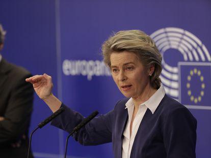 Ursula von der Leyen y David Sassoli, durante una conferencia de prensa en Bruselas el pasado día 20.