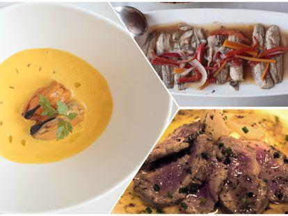 Mejillones de Santerra, lomos de sardinas de Casa Pedro y solomillo de cerdo de la Taberna Verdejo.