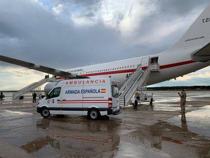 El avión A310 del Ejército del Aire en el que ha sido evacuado el militar enefermo de Malí. / EMAD