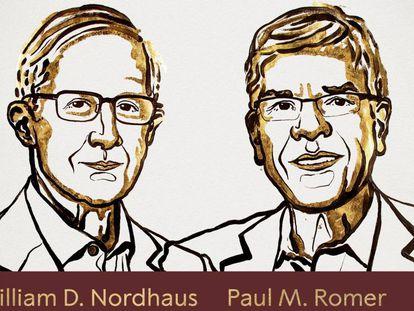 Los nuevos Nobel de Economía, en una ilustración de Niklas Elmehed, difundida por la Academia Sueca.