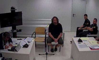 Xavier Buigas, uno de los CDR detenidos, durante su declaración en la Audiencia Nacional.