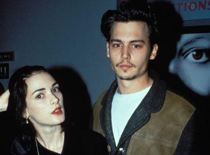 Los actores Johnny Depp y Winona Ryder en 1990, cuando mantenían una relación sentimental