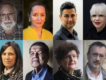 De arriba abajo y de izquierda a derecha, Fernando Savater, Amelia Valcárcel, Rodrigo Cortés, Remedios Zafra, Claudia Piñeiro, Sergio Ramírez, Margo Glantz y Manuel Cruz.
