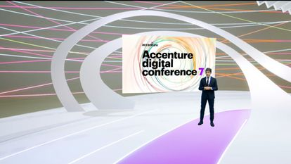 Domingo Mirón, presidente de Accenture en España, Portugal e Israel, durante su intervención en la ADC7.