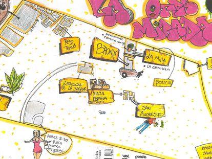 Plano de los recorridos por el centro de Bogotá con la asociación Arcupa.