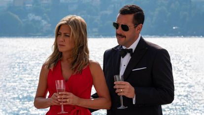 With Jennifer Aniston in 'Criminals at Sea'.