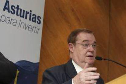 El presidente de la Federación Asturiana de Empresarios, Severino García Vigón, durante la rueda de prensa hoy en Ciudad de México.