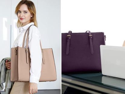 Con un acabado elegante y urbano este bolso hace más cómoda la tarea de cargar con el ordenador portátil y otros enseres básicos.