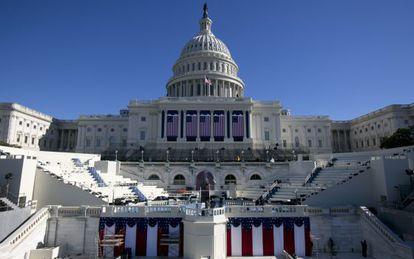 El escenario de la ceremonia de investidura, en el Capitolio.