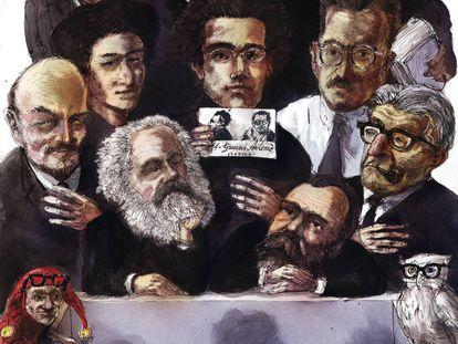 'Teoría crítica', obra de Rainer Ehrt en la que aparecen caricaturas de miembros de la Escuela de Fráncfort. De arriba abajo y de izquierda a derecha, Horkheimer, Adorno, Marcuse, Lenin, Luxemburgo, Gramsci, Benjamin, Marx, Engels y Bloch.