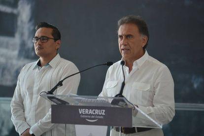 El gobernador de Veracruz, Miguel Ángel Yunes, esta mañaa durante su mensaje.