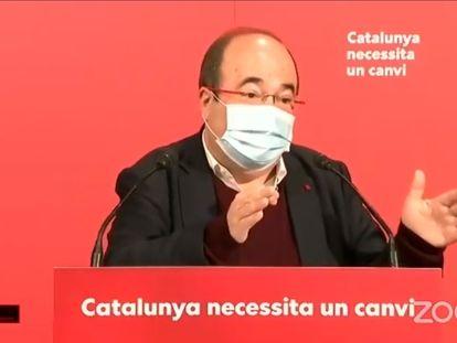 El primer secretario del PSC, Miquel Iceta, este sábado, durante el Consell Nacional. / EUROPA PRESS