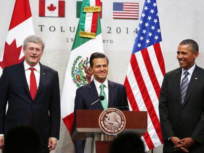 Obama, Peña Nieto y Harper, en la cumbre de Toluca (méxico) este miércoles.