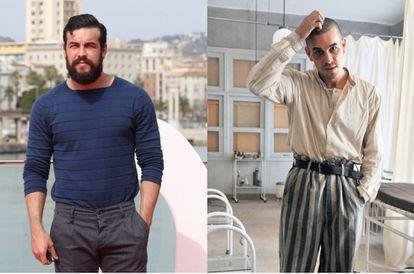 A la izquierda, Mario Casas en la presentación del Festival de Málaga en marzo de 2017, con la barba y el peso que había ganado para su personaje en 'Bajo la piel de lobo'. A la derecha, el actor en una imagen publicada siete meses después en el rodaje de 'El fotógrafo de Mauthausen'.