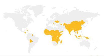 Mapa de la vacunación: En amarillo, los países a los que llega GAVI. Pincha en la imagen para conocer los detalles.