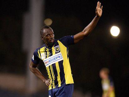 Usain Bolt, durante un partido de la liga australiana entre su equipo, los Central Coast Mariners, y el Macarthur South West United.