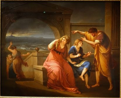 Plinio el Joven y su madre en Misenum durante la erupción del Vesubio, por Angelica Kauffman.