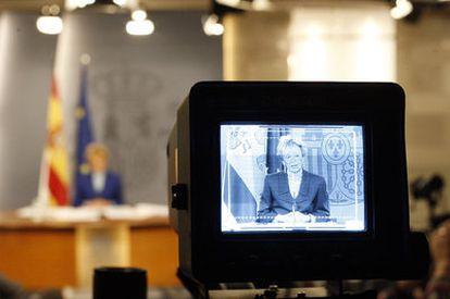 La vicepresidenta María Teresa Fernández de la Vega ha defendido la Ley General Audiovisual en el Congreso.