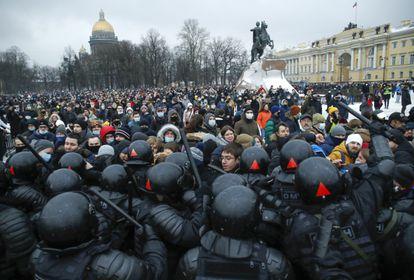 Protesta en apoyo de Navalni el pasado sábado en San Petersburgo.