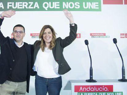 Jerónimo Guerrero y Susana Díaz, este viernes en El Coronil.