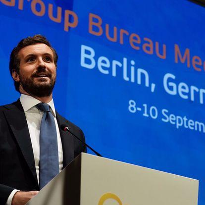 El líder del PP,  Pablo Casado, asiste a un encuentro de líderes del PPE en Berlín. Allí coincide con la canciller Angela Merkel. PP 09/09/2021
