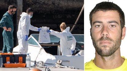 A la izquierda, la Guardia Civil inspecciona el barco encontrado a la deriva el pasado 29 de marzo en Santa Cruz de Tenerife. A la derecha, Tomás Gimeno, en una foto de archivo.