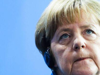 La canciller alemana, Angela Merkel, en Berlín el 12 de julio tras reunirse con el primer ministro irlandés, Enda Kenny