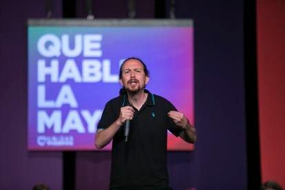 Pablo Iglesias en un acto de Unidas Podemos en el Teatro Buero Vallejo de Alcorcón (Madrid), este sábado.