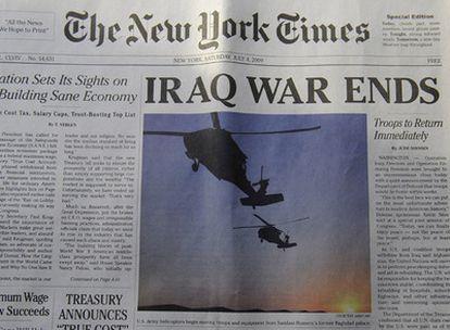 Imagen de la edición impresa de un ejemplar falso del famoso diario estadounidense