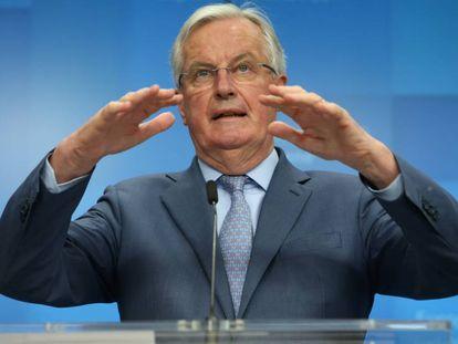 Michel Barnier comparece ante los medios de comunicación, este martes en Bruselas.