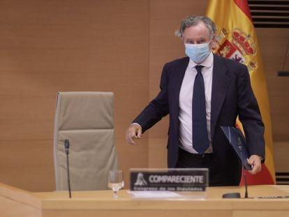 El empresario Ignacio López del Hierro, a su llegada este miércoles a la comisión de investigación del 'caso Kitchen' en el Congreso.