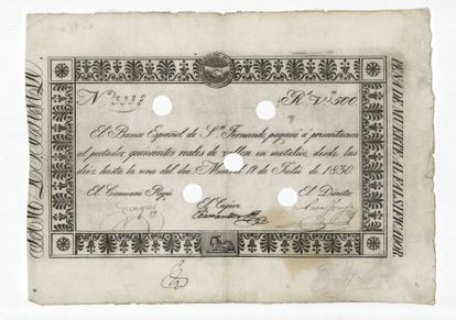 Billete del Banco de San Fernando, de 1830, con el lema a la derecha