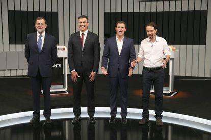 Mariano Rajoy, Pedro Sanchez, Albert Rivera y Pablo Iglesias en un debate electoral en junio de 2016.