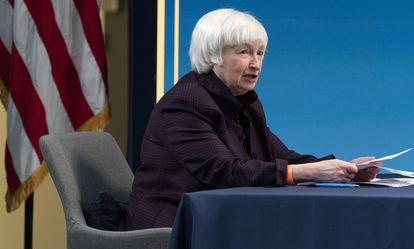 La secretaria del Tesoro de EE UU, Janet Yellen, en febrero.