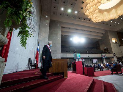 El presidente de Chile, Sebastián Piñera, ofrece el discurso anual en el que rinde cuentas de su último año de Gobierno, el 1 de junio ante el Congreso.