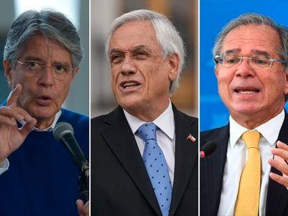 El presidente ecuatoriano, Guillermo Lasso, el presidente de Chile, Sebastián Piñera, y el ministro de Economía brasileño, Paulo Guedes.