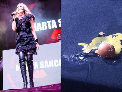 Marta Sánchez, durante el concierto. Huevo lanzado al escenario. En vídeo, momento en el que el público lanza huevos a Marta Sánchez.