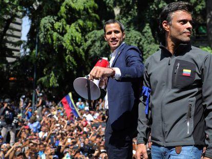 Juan Guaidó (izquierda) y Leopoldo López, el pasado 30 de abril, en Caracas.