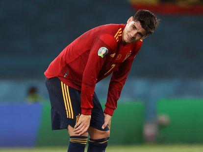 El delantero de la selección española Álvaro Morata, en el encuentro entre España y Polonia, en el estadio de La Cartuja de Sevilla el día 19.